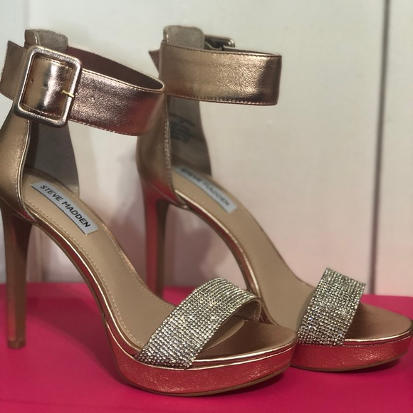 1cad8459fc6 Steve Madden Circuit Dress Sandals Heels Rose Gold